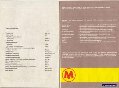 Dane techniczne i wykonawcy metra w folderze z 1988 r.