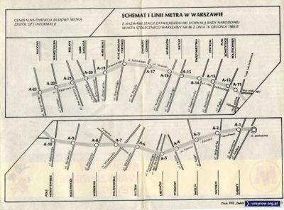 Schemat linii metra (1988) z ulicą Findera przebiegającą przy stacji postojowej.