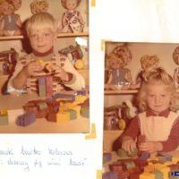 Następny proszę! Pamiątkowe zdjęcia z klockami - co ciekawe, oboje siedzą w tym samym miejscu. Kronika Przedszkola nr 283.