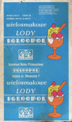 Wielosmakowe lody firmy Igloopol, lata '80. Źródło: historiaigloopolu.blogspot.com