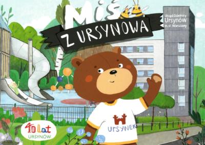 Miś Ursynek w komiksie wydanym przez Urząd Dzielnicy na 40-lecie.